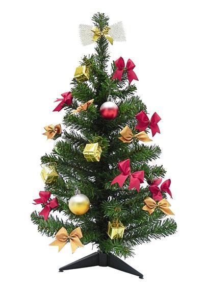 ต้นคริสต์มาส 2 ฟุต ตกแต่งโบว์และลูกบอล สีเขียว