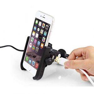Motowolf ที่จับโทรศัพท์สำหรับมอเตอร์ไซค์ แบบอลูมิเนียม พร้อมช่องชาร์จ USB