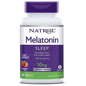 อาหารเสริมเมลาโทนิน Natrol Melatonin Fast Dissolve Tablets Strawberry
