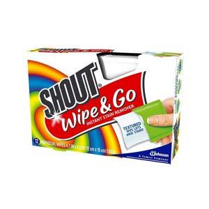 Shout Wipe & Go แผ่นทำความสะอาดกำจัดรอยเปื้อน