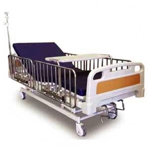 เตียงผู้ป่วย หมุนมือ 3 ไกร์ ราวกั้นสแตนเลสสูง
