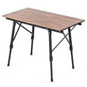 โต๊ะพับอลูมิเนียมลายไม้ โต๊ะแคมป์ปิ้ง ปรับสูงต่ำได้