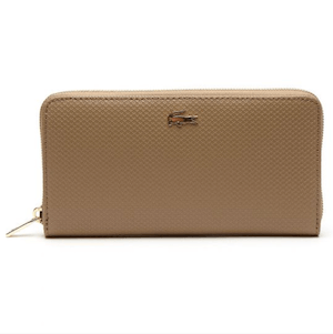 กระเป๋าสตางค์ผู้หญิง Lacoste Women'S Chantaco Split Italian Piqué Leather Zip Wallet
