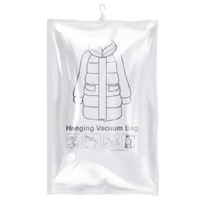 ถุงสุญญากาศเก็บเสื้อผ้า แบบมีตะขอแขวนและวาล์วดูดอากาศ