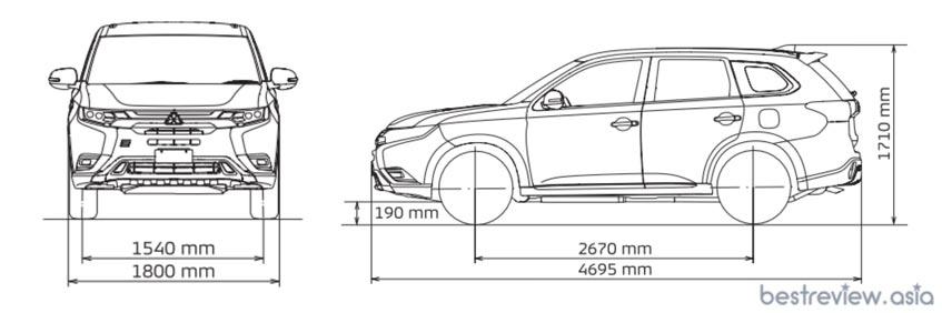 มิติตัวถัง Mitsubishi Outlander PHEV