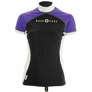 เสื้อรัชการ์ดผู้หญิง Aqualung Xcolored rash guard black women short sleeves