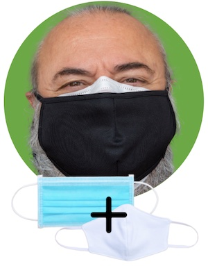 สวมหน้ากากทางการแพทย์และสวมหน้ากากผ้าทับอีกชั้น