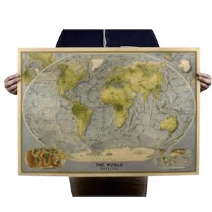 แผนที่โลก แผ่นใหญ่ กระดาษคราฟท์หนา 150 แกรม