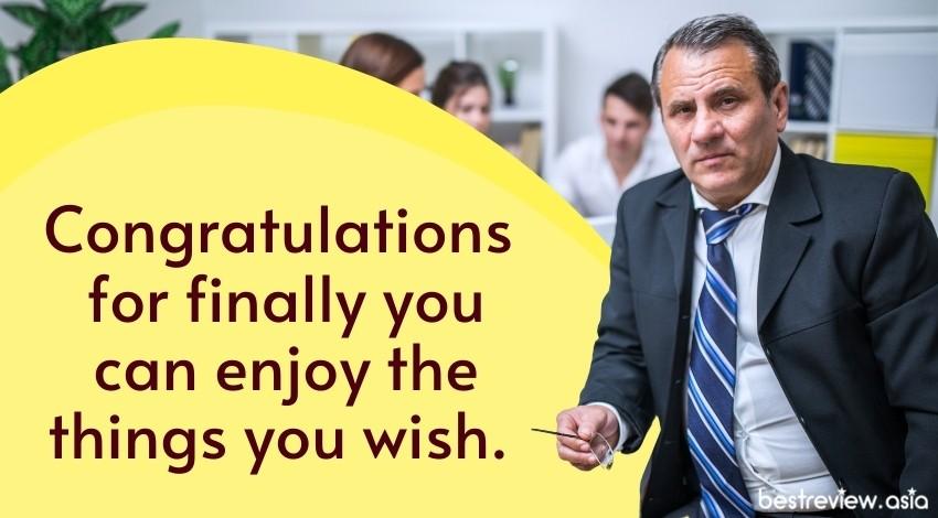 Congratulations for finally you can enjoy the things you wish.ขอแสดงความยินดีด้วยที่ในที่สุดคุณก็ได้สนุกไปกับการตัดสินใจของคุณเอง