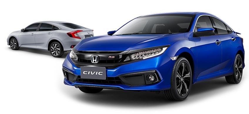 Honda Civic 1.8 E (สีเงินลูนาร์) และ Honda Civic 1.5 TURBO RS (น้ำเงินบริลเลียนท์ สปอร์ตตี้)