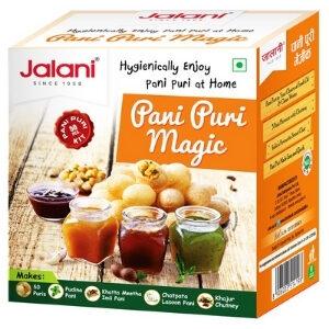 Jalani Pani Puri Magic Treat แผ่นแป้งสำหรับทอดและซอสผง 4 รสชาติ (สีส้ม)