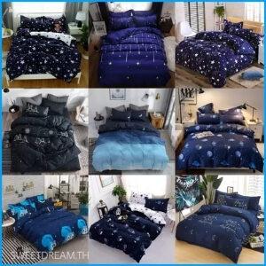 ชุดเครื่องนอนผ้าปูที่นอนครบเซ็ต 6 ชิ้น พร้อมผ้านวม