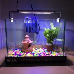 ตู้ปลาจัดเซ็ตพร้อมใช้ กรองแขวน ไฟ LED หินสี ต้นไม้ปลอม 1 ชุด